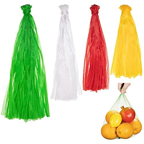 300 Piezas Bolsas de Malla de Nailon Reutilizables Bolsas de Red de Nailon de Frutas Red de Embalaje de Fruta y Verdura para Alimentos Juguetes Bolsas de Embalaje de Frutas, 4 Tamaños
