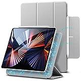 """ESR Hülle kompatibel mit iPad Pro 12.9"""" 2020, praktischer Magnetverschluss [Unterstützt Apple Pencil Koppeln und Laden] Trifold Standhülle, Smart Hülle, Auto Schlaf-/Weckfunktion - Silbergrau"""