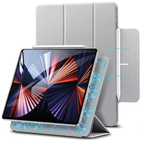 ESR Funda Magnáica para iPad Pro 12,9' 2020 4?generación, Cómoda Instalación Magnáica[Compatible Emparejamiento y Carga Inalábrica Pencil][Cubierta Inteligente][Soporte Trático],Gris