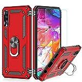 LeYi für Samsung Galaxy A50/A50s/A30s Hülle Handyhülle mit Schutzfolie, 360 Grad Ringhalter Cover TPU Bumper Stoßdämpfung Schutzhülle für Hülle Galaxy A50 Handy Hüllen Rot
