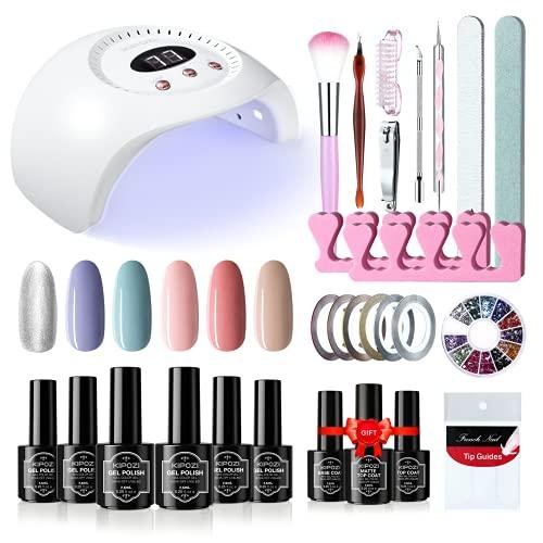 KIPOZI Kit de esmalte de uñas en gel de 6 colores con lámpara LED UV de 48 W, juego de esmalte de uñas en gel clásico para remojo, para bricolaje, decoración de uñas o salones de uñas