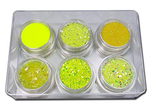 Premium Spezial Glitter Glitzer Set Gelb Nailart