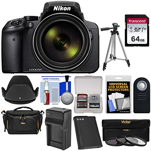 Nikon Coolpix P900 Wi-Fi 83x Zoom Digital Camera with 64GB Card + Battery & Charger + Case + Tripod + 3 Filters + Hood + Kit