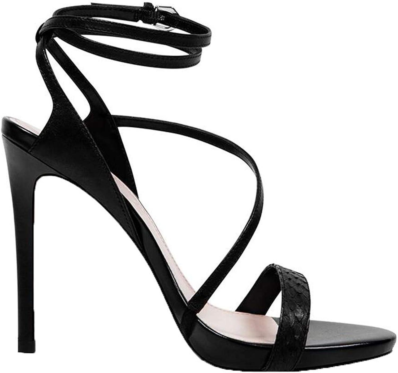 XUERUI Stiletto Slip Schuhe Riemchensandalen Damen High Heels Für Hochzeit Party Kleid Pfennigabsatz Plateausandalen Pumps (Farbe   schwarz, Größe   EU36 UK3.5 CN35)