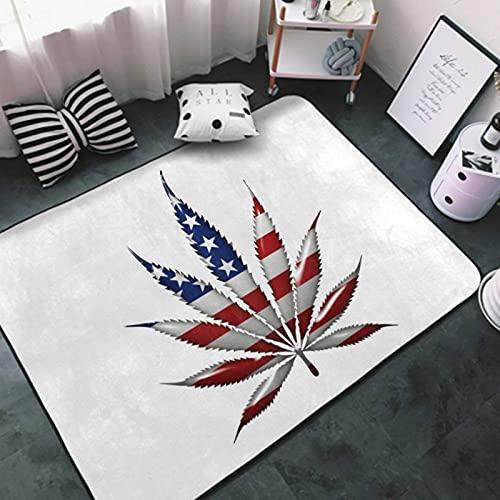 Area Rug White-American Flag Marijuana Weed Cannabis Leaf10 Floor Mat Non-Slip Carpets Modern Unique Floor Carpet for Children Play, Sofa, Living Room, Bedroom Carpet