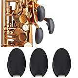 3Pcs Saxophone Rubber Thumb Rest, Black Silicone Thumb Rest Palm Key Risers Finger Protector, for Alto Tenor Soprano Sax Key Pad Accessories