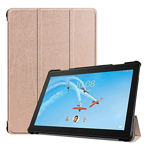 Case2go - Case for Lenovo Tab P10 - Slim Tri-Fold Book Case - Lightweight Smart Cover - Rose-Gold