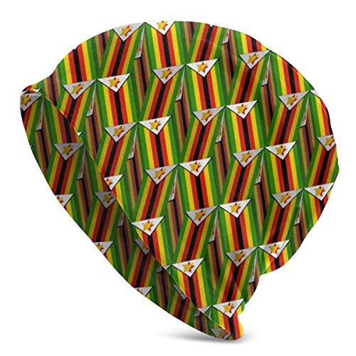 FETEAM Gorro Slouch Beanie, Transpirable, Ligero, Elástico, Suave Gorra de Calavera Bandera de Zimbabwe