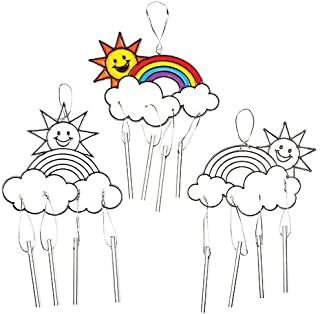 Baker Ross Rainbow Suncatcher Windchimes Craft Set for Kids to Decorate— Novelty Toys for Children, Perfect Party, Loot or Prize Bag Filler (Pack of 4)