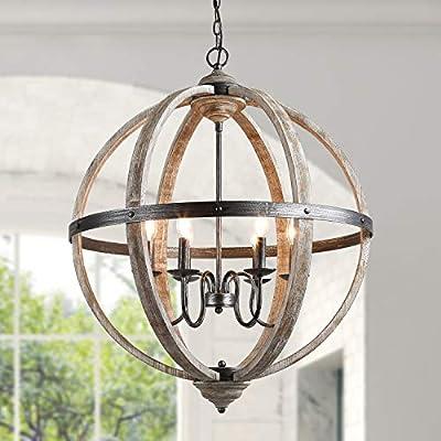 """KSANA Wood Orb Chandelier 27"""" Large Globe Lighting for Dining Living Room and Foyer"""