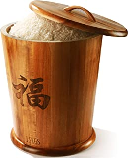 Wooden Rice Bucket, Rice Storage Container 15kg Airtight Rice Sealed Box, for Rice, Beans and Coffee Beans Food Storage Containers
