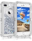 Coolden Case for iPhone 8 Plus Case Protective Glitter Case for Women Girls Cute Bling Sparkle 3D Quicksand Heavy Duty Hard Shell Shockproof TPU Case for iPhone 6s Plus 7 Plus 8 Plus, Silver