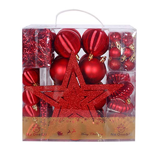 No One&U Christmas Balls Ornaments 67 Pcs for Xmas Christmas Tree Ball Christmas Tree Ornaments Hanging Ball for Holiday Wedding Christmas Party Decoration Home Decor
