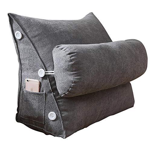 miss-an Rückenkissen Nackenrolle Wedge Pillow Lendenkissen Mit Seitentasche Abnehmbarer Waschbarer Bezug Für Auto, Bett, Lesen, Büro-Stuhl Und Sofa