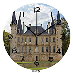 AmaUncle 10 Inch Round Face Silent Wall Clock France. Chateau Rothschild Unique Contemporary Home and Office Decor No40330