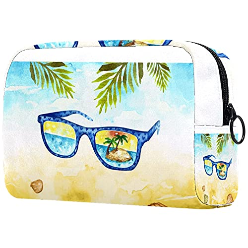 Yitian Bolsa de cosméticos para gafas de viaje de acuarela para mujeres, adorables bolsas de maquillaje espaciosas