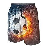 Uomo Personalizzato Costume da Bagno,Pallone da calcio ad alta risoluzione in immagine di fuoco e acqua per una stampa di gioco del pallone da calcio,Casuale Beachwear Costumi Pantaloncini da Surf