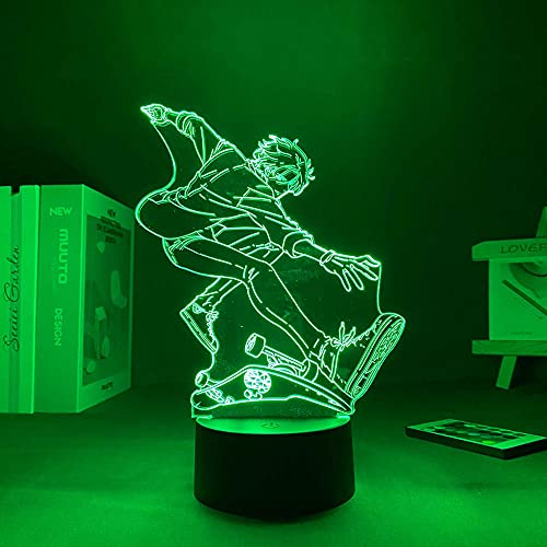 Lámpara de ilusión 3D Mood Led Luz de noche Personaje de dibujos animados Sk8 Infinity Cherry Kawaii Decoración para dormitorio Valentine's Day-Black Base_With Remote