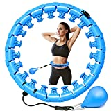 Weighted Smart Hoola Hoop for Adults, Non-Fall Exercise Hoops for Home & Gym Fitness,Plus Size Adjustable with 24 Detachable Knots Hula Circle (Maximum 2.65 lbs) (Blue)