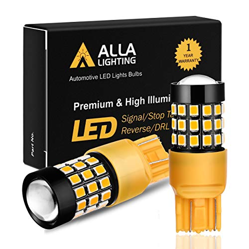 Alla Lighting Super Bright T20 7440 7443 LED Turn Signal Light Bulbs WY21W 7440NA 7444NA 7440 7443 LED Bulbs High Power 2835 Chipsets 7440 7443 Amber Yellow Cars Trucks Blinker Lights Lamp Replacement