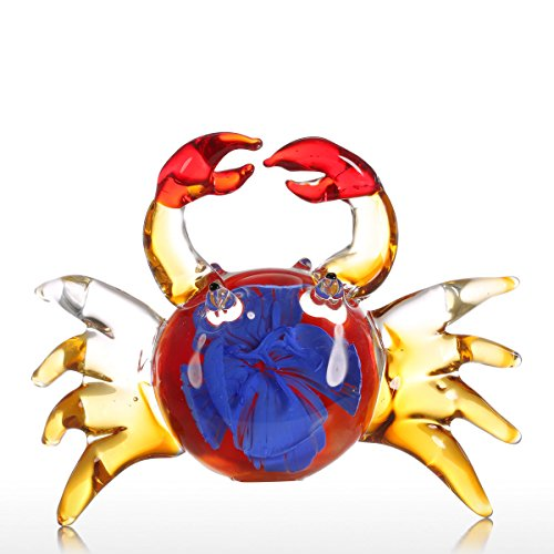 Tooarts Fleur Crabe Cadeau Ornement en Verre Animal Figurine Soufflé Home Decor Multicolor