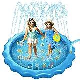 Sunshine smile 170CM Splash Pad, Outdoor Garten Splash Spielmatte,Sprinkler Wasser-Spielmatte Splash Play Matte,Baby Pool Pad,Sommer Garten Wasserspielzeug für Kinder
