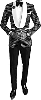 One Button Polka Dot Mens Suits Slim Fit Tuxedos 2 Piece Sets