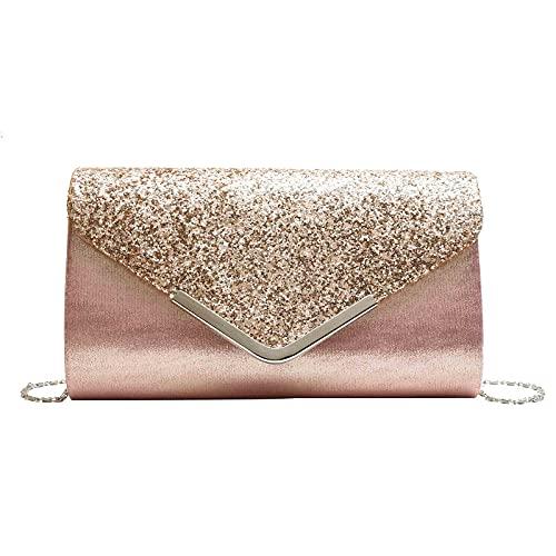 Mengove Frau Abendtasche Glitter Umschlag Dame Umhängetasche Handtasche Kette Tasche für Hochzeit Freizeit Party (C4)