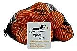 Dog Tennis Balls by Woof Sports - 12 Orange Ecofriendly Balls & Mesh Carrying Bag. Medium Size Balls Fits Standard Ball Launchers