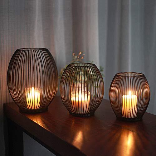 Birdcage Shape Kerzenständer 3er Set, Schwarzer Oval Metall Kerzenhalter, für Wohnzimmer Schlafzimmer Vintage Deko, Hochzeit Bankett Weihnachts Abendessen Kerzenleuchter 15x17cm / 17x19cm / 20x24cm
