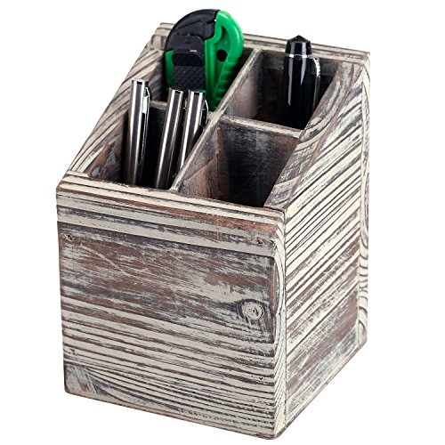 MyGift Rustic Torched Wood 4 Slot Pen Pencil Holder, Square Desktop Office Supply Storage Box