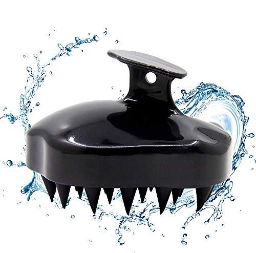 Shampoo Bürste Silikon Kopfhaut Massager Haarbürste Nasstrockener Kamm Kopf Gummipflege verbessert die Durchblutung für Männer Frauen Haustiere (Black)