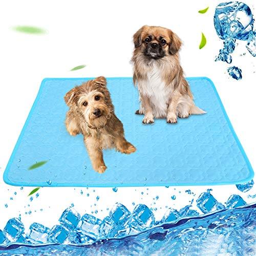Esterilla de refrigeración para perros y gatos, perros, no tóxica, portátil, plegable, lavable, cómoda alfombrilla para mascotas en verano caluroso (100 x 70 cm)