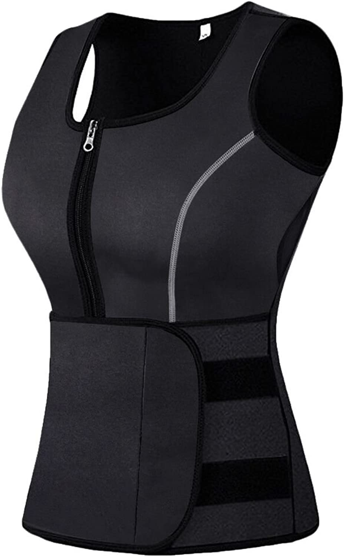 Mpeter Sweat Vest for Women,Slimming Body Shaper,Adjustable Waist Trainer, Neoprene Sauna,Rapid Weight Loss,Belly Fat Burner Comfortable Black