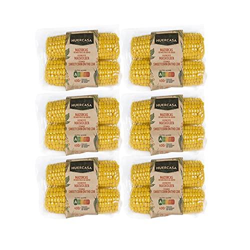 HUERCASA - Mazorcas de Maíz Dulce Cocidas al Vapor. Pack de 6 Envases. Sin Gluten, Vegano. Envasado al Vacío. Listo para Comer