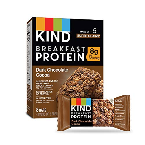 KIND Breakfast Protein Bars, Almond Butter, Gluten Free ,Dark Chocolate Cocoa, 32 Count