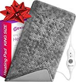 GENIANI Extra Large Electric Heating Pad for Back Pain and Cramps Relief 12'x24' - Auto Shut Off - Soft Heat Pad for Moist & Dry Therapy (Tabby Gray)