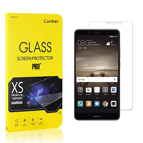 Conber (1 Pack) Screen Protector for Huawei Mate 9, [Scratch-Resistant][Anti-Shatter][Case Friendly] Premium Tempered Glass Screen Protector for Huawei Mate 9