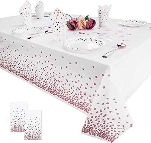 Manteles de mesa de fiesta manteles de punto oro rosa manteles para fiestas, suministros de fiesta para eventos, decoraciones de tela de 54 x 108 pulgadas para Navidad, paquete de 2 (oro rosa)