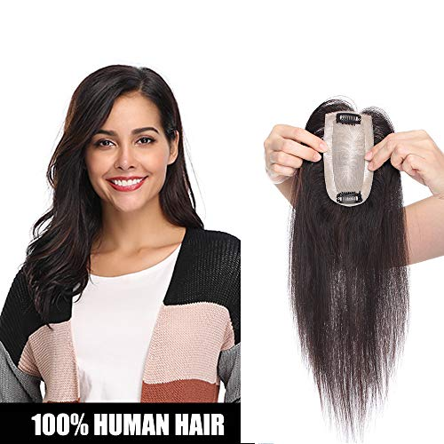 Extensiones de Cabello Natural Clip Flequillo Postizo Pelo Humano Mechas Prótesis Capilares Toupee Mujer Pelucas Coletas Postizas Cortas 100% Remy Human Hair - 30CM #1B Negro Natural