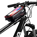 Bike Phone Front Frame Bag,Waterproof Bike Pouch Bag-Bicycle Top Tube Cycling Phone Mount with 6.5 Inch Touch Screen Bike Phone Holder Storage Bag for iPhone 7/8/11 Plus XS Max Galaxy S7 S8 S9 (Red)