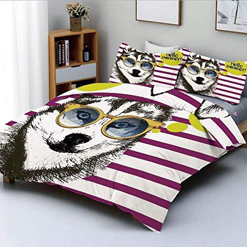 Juego de funda nórdica, rayas púrpuras con dibujo de husky, gafas amarillas Hipster, cita decorativa de Hello Summer, juego de cama decorativo de 3 piezas con 2 fundas de almohada, multicolor, el mejo
