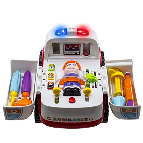 Ambulance Rescue Vehicle Toy Car - Opening Doors Play Kit with Lights Music and Sounds Siren, 4 Equipments for Pretend Doctor Patient Medical Playset Learning Toy for Toddlers, Kids 2 3 4 5 Year Old