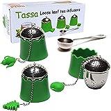 TASSA Loose Leaf Tea Infuser, Tea Ball Strainers, Steepers Set w/ Cute Silicone Handle & Trays 3X PLUS Stainless Steel Spoon.