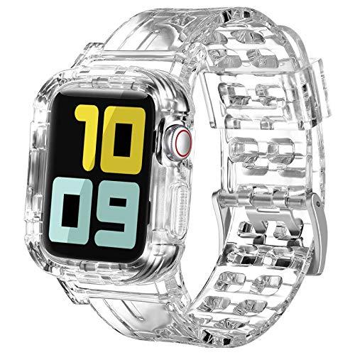 OMGO Cinturino per Apple Watch 38mm 40mm 42mm 44mm con Cassa Dell'orologio, Cristallo Cinturini di Silicone per Apple Watch SE e iWatch Series 6 5 4 3 2 1 (38mm/40mm, Chiaro)