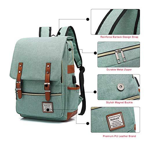 UGRACE Vintage Laptop Backpack with USB Charging Port, Elegant Water R   esistant Travelling Backpack Casual Daypacks School Shoulder Bag for Men Women, Fits up to 15.6Inch MacBook in Green