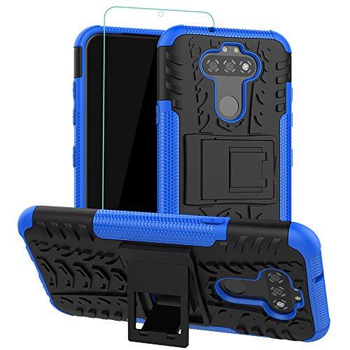 Osophter für LG Aristo 5, K31, Phoenix 5/Fortune 3/Risio 4/K8X/Tribute Monarch-Hülle mit Bildschirmschutzfolie, doppelschichtige Schutzhülle Ständer, Combo PC + TPU Hüllen 5 Hülle-KUI Blau