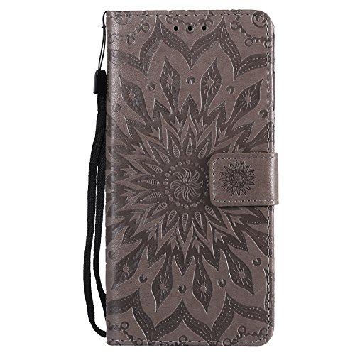 LEMORRY Handyhülle für Huawei Ascend Mate7 Hülle Tasche Ledertasche Beutel Haut Schutz Magnetisch SchutzHülle Weich Silikon Cover Schale für Huawei Ascend Mate7, Blühen Grau
