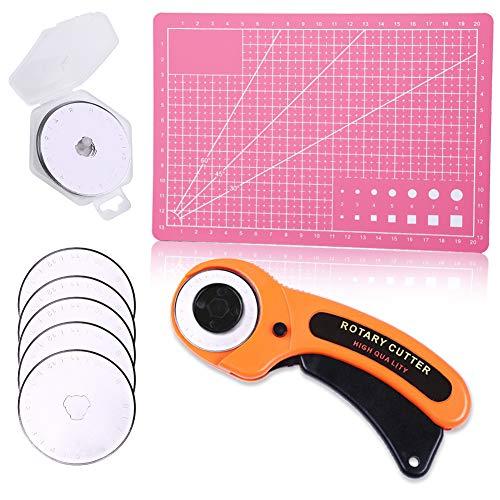 カッターマット ロータリーカッター 円形刃 直径45mm セーフティロータリカッター 替刃 5枚入り A5 カッティングマット 手芸 裁縫工具