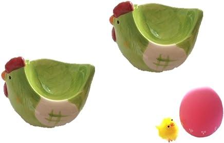 Preisvergleich für Eierbecher Huhn aus Keramik mit Eieruhr pink